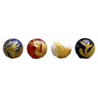 四神獣4点セット 天然石各種金彫り 彫刻ビーズ 10mm玉 青龍・朱雀・白虎・玄武 天然石 パワーストーン