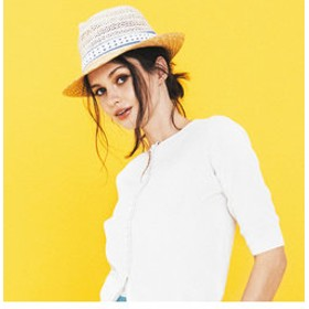 【J Lounge:帽子】FERRUCCIO VECCHI / バイカラーストローハット