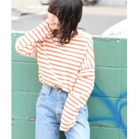 JOURNAL STANDARD relume 【19SS】ドライコットン ボーダーフレンチ ロングTシャツ オレンジ M