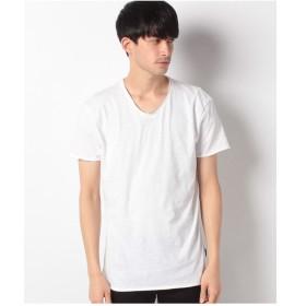 SISLEY コットンVネック半袖Tシャツ・カットソー(ホワイト)【返品不可商品】