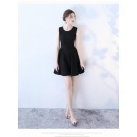 ブラック パーティドレス シンプル イブニングドレス ミニドレス フォーマル ワンピース お呼ばれ 発表會 誕生日