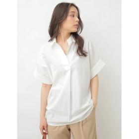 アースミュージックアンドエコロジー earth music & ecology リネン混スキッパーBIGシャツ (Off White)