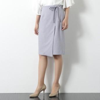 スカート レディース ロング 麻調合繊共ベルト付きラップ風タイトスカート 「グレー」