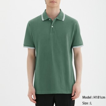 (GU)GUドライポロシャツ(半袖)(ライン)CL GREEN M