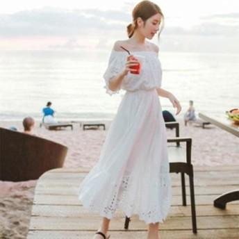 ボヘミアンロングスカート白いビーチスカート海辺のリゾートビーチスカートチューブトップワード肩スーパー妖精のドレス女性の夏