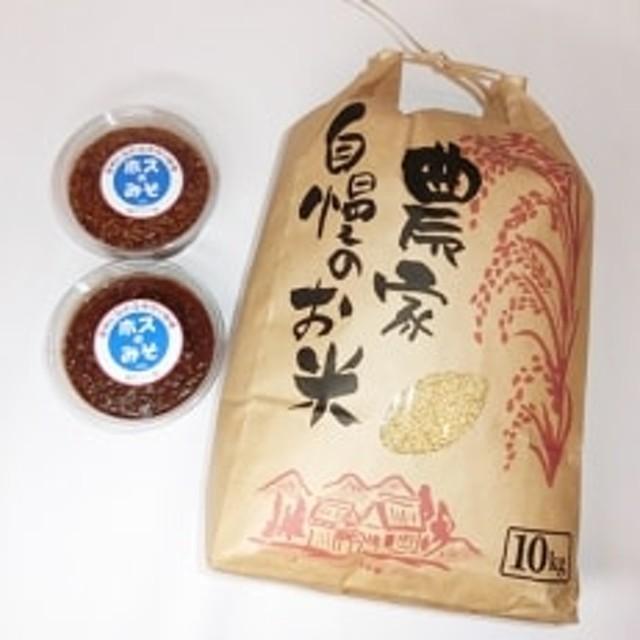 ホスのみそ 米味噌 1kg(500g×2)、ホスのお米(玄米)10kg