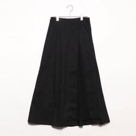 スタイルブロック STYLEBLOCK 綿ツイル×シフォンプリーツ切替スカート (ブラック)