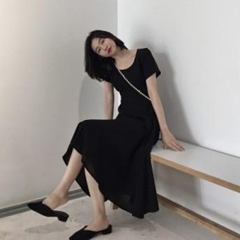 妖精のスカートのシックで優しいロングスカートのフランスのレトロなスカートの山本は膝の上の妖精の小さなシフォン黒のドレスです。