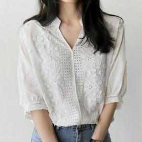 ホワイト 刺繍 シャツ カットワ-ク刺繍 花柄刺繍 五分袖 スカラップ