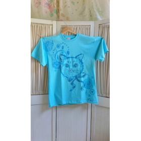 人気のビッグTシャツ ユニセックスXLサイズ 猫ちゃんだ!ブルーだ!夏はこれで決まりダ♪ 手描きTシャツ