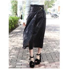 dazzlin ベロアプリントスカート ブラック