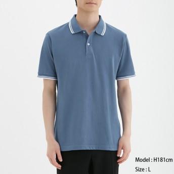 (GU)GUドライポロシャツ(半袖)(ライン)CL BLUE M