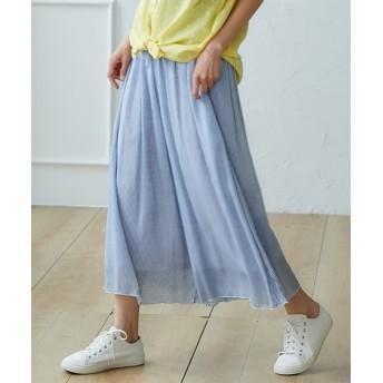 ふんわりレーヨン混スラブストライプスカーチョ (レディースパンツ),pants