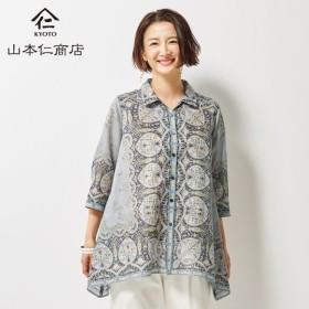 山本仁商店 パネル柄裾ヘムロングシャツ