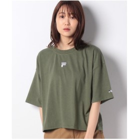 DAISY MERRY FILAロゴ刺繍ショート丈ワイドTシャツ(カーキ)