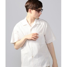 トゥモローランド サッカーストライプ オープンカラー半袖シャツ メンズ 14ホワイト系 L 【TOMORROWLAND】