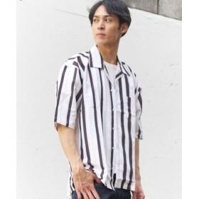 (GGD/ジージーディー)GGDed総柄ワイドシャツs/メンズ ホワイト