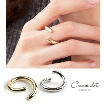 【ゆうパケットOK】オープンリング フォークリング 指輪 アクセサリー ボリューム 太め 巻き デザイン シンプル ゴールド シルバー 重ねづけ 華奢見せ 上品 清楚 9号相当 結婚式 お呼ばれ 小物