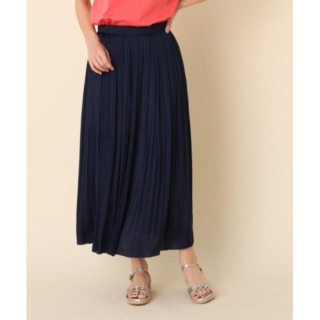 Couture Brooch(クチュールブローチ) ◆【洗える】サテン消しプリーツスカート