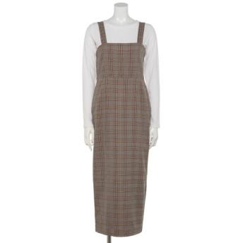 50%OFF OSMOSIS (オズモーシス) Tシャツ付ジャンパースカート BEIGE X BROWN