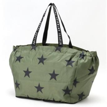 バッグ カバン 鞄 レディース エコバッグ レジかごにつけられる◎コンパクト星柄ショッピングバッグ カラー 「カーキ」