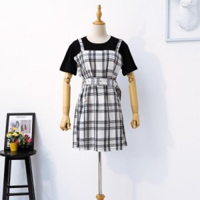 AHY偽のツーピース格子縞のストラップのドレスの新しい夏のフレンチドレスは、薄いレトロスカート人気のスカートの女性でした