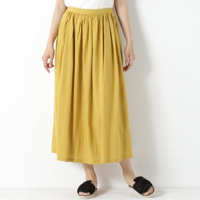 スカート レディース ロング 麻レーヨン素材のギャザースカート 「イエロー」
