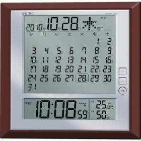 【メーカー在庫あり】 SQ421B セイコークロック(株) SEIKO 液晶マンスリーカレンダー機能付き電波掛置兼用時計 茶メタリック塗装 JP店