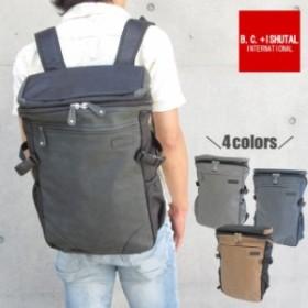 リュック B.C.+ISHUTAL ビーシーイシュタル リュックサック メンズ レディース サイドポケット 背面ポケット スクエア