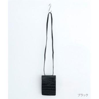 (merlot/メルロー)【plus】クロコダイル型押しスクエアミニショルダーバッグ/レディース ブラック