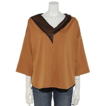 40%OFF OSMOSIS (オズモーシス) レース切替Tシャツ CAMEL