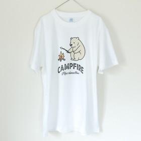 マシュマロを焼くクマ アウトドア キャンプ Tシャツ_H005