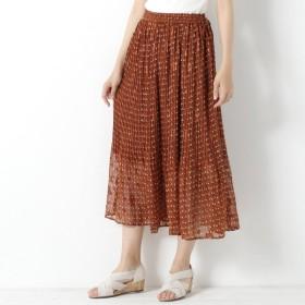 スカート レディース ロング 消しプリーツプリントスカート 「オレンジ」