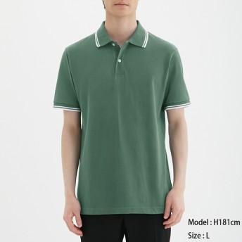 (GU)GUドライポロシャツ(半袖)(ライン)CL GREEN XL