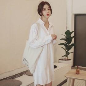 シャツワンピース ホワイト トレンド ワンピース シャツ ショート丈 長袖