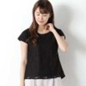 ボタニカルレースフレンチ袖Tシャツ【M~4L】
