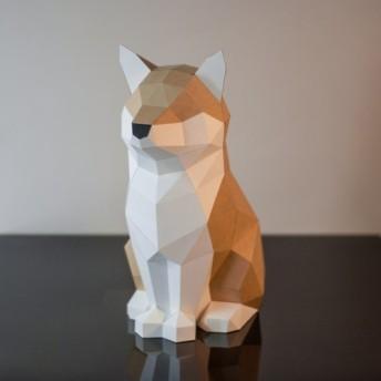 DIY手作りの3Dペーパーモデルオーナメント犬シリーズ-誇らしげに属性fire(4色オプション)