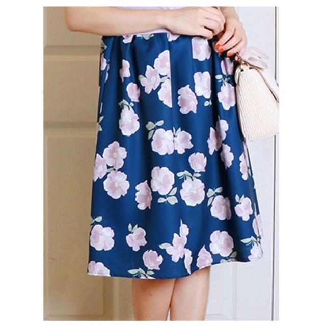 dazzlin 配色フラワーギャザースカート ネイビー