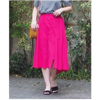 INTERPLANET 【セットアップ対応商品】麻ライクフレアースカート(ピンク)【返品不可商品】