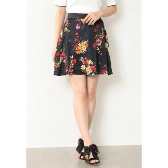 LOVELESS 【LOVELESS】WOMEN nowarttモノグラムフレアスカート ショート・ミニ丈スカート,ブラック