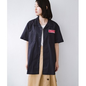 ハコ Dickies TCツイルワッペン付きオープンカラーシャツ レディース ネイビー M 【haco!】