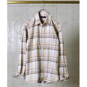 (SHIPS OUTLET/シップス アウトレット)SA: コットン/チェック レギュラーカラー ダストマン ネルシャツ/メンズ カーキ