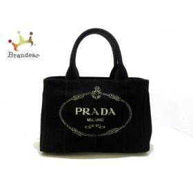 プラダ PRADA トートバッグ CANAPA 1BG439 黒×アイボリー キャンバス  値下げ 20190531