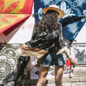 フリンジ装飾カーディガン マント ポンチョ 日焼け防止 UV対策 リゾート旅行 民族柄 アンティーク調 ユーニック レディース デート ブラ