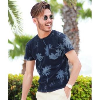 (JIGGYS SHOP/ジギーズショップ)パーム柄ポケット付Tシャツ/Tシャツ メンズ ティーシャツ 半袖 クルーネック/メンズ ネイビー 送料無料