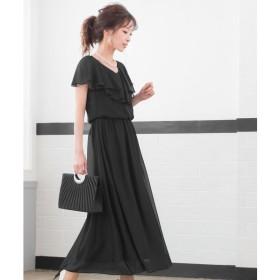 [マルイ] フリルスリーブ ロングワンピースドレス【結婚式/二次会/お呼ばれ】/ファッションレター(Fashion Letter)
