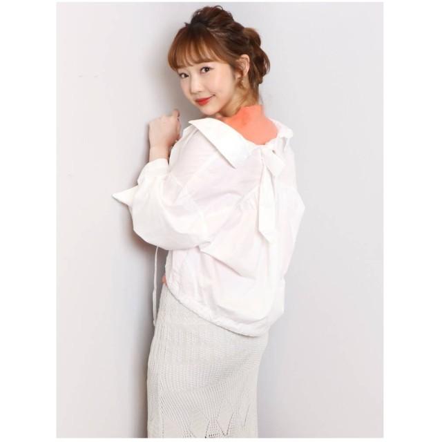 dazzlin バックリボンオープンカラーシャツ オフホワイト