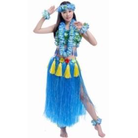 (POMAIKAI) フラダンス 衣装 フラ ダンス コスチューム レイ ベアトップ スカート 8点 セット (ブルー)