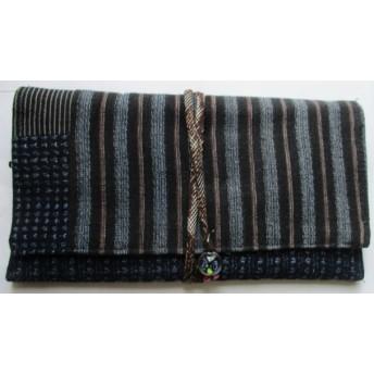 4340 #送料無料 男絣と唐桟縞の着物で作った財布・ポーチ