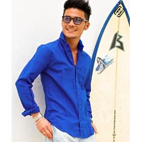 シルバーバレット CavariA綿麻ホリゾンタルカラー長袖シャツ メンズ ブルー 46(L) 【SILVER BULLET】